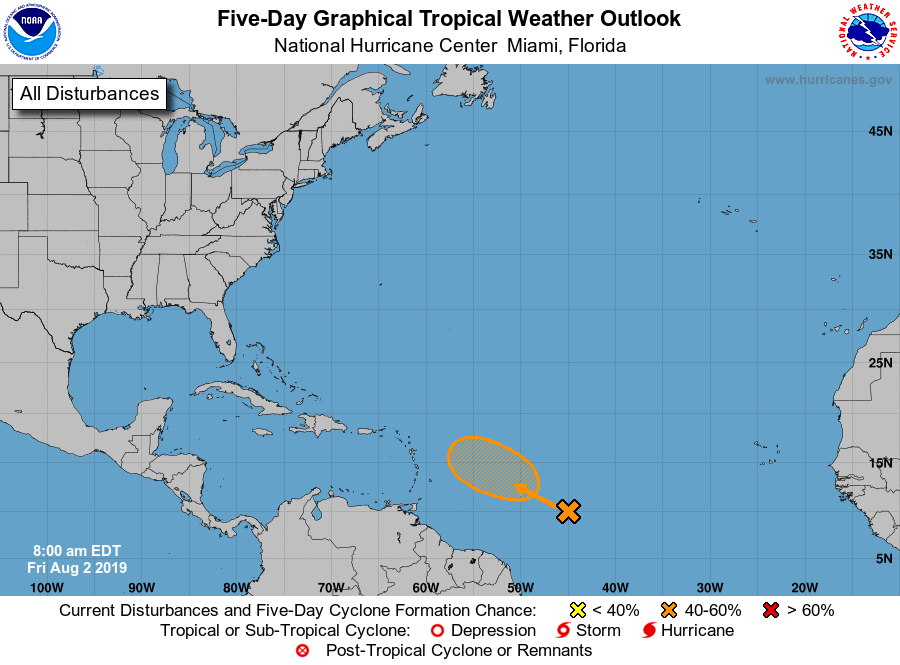 5-Day Tropical Weather Outlook as of 2019-08-02 07:00 CDT