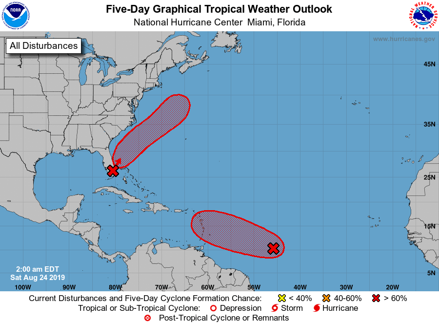 Tropical Disturbance Likely to Form Off East-Central Florida Coast Early Next Week