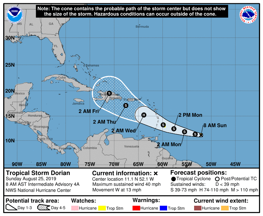 Tropical Storm Dorian Expected to Become a Hurricane Within 48 Hours
