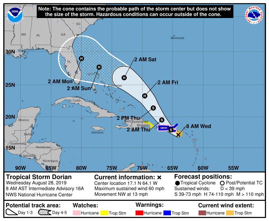 Tropical Storm Dorian to pass over or near Puerto Rico and the Virgin Islands today