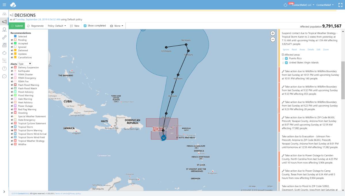 Tropical Storm Karen to pass near or over Puerto Rico and the Virgin Islands on Tuesday