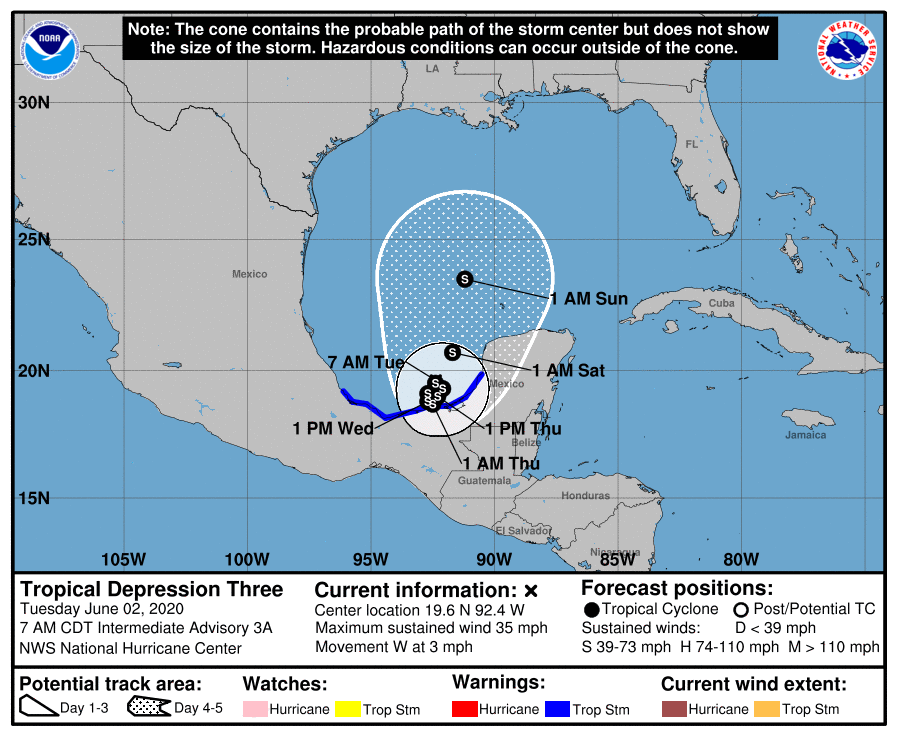 Tropical Depression Three forms in the Bay of Campeche