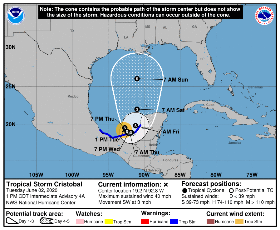 Tropical Storm Cristobal forms in Bay of Campeche
