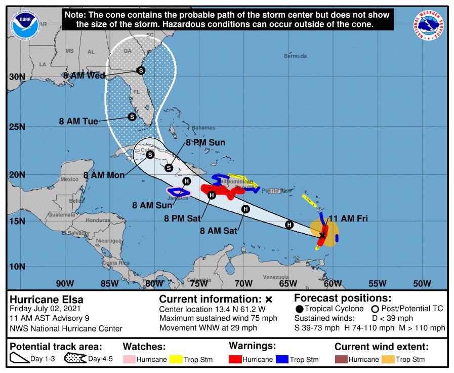 Hurricane Elsa Becomes First Atlantic Hurricane of 2021