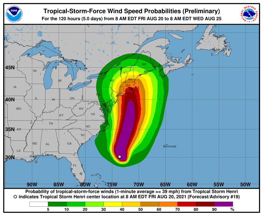 Graph of Tropical Storm force winds for Tropical Storm Henri as of 08/20/2021 10:00 CDT