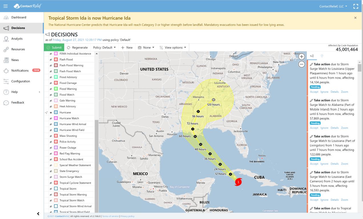 Hurricane Ida now a Category 1 Hurricane