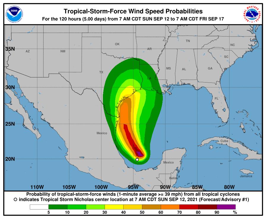 Tropical Stom Nicholas wind speed estimates