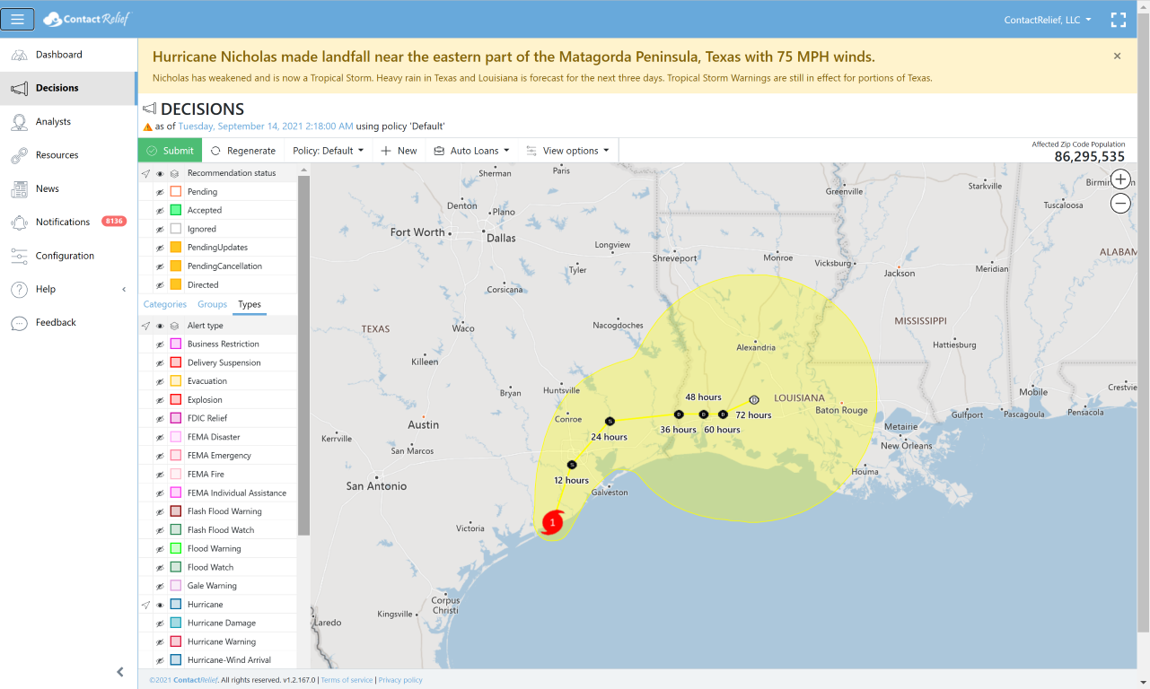 Hurricane Nicholas makes landfall in Texas with 75 MPH winds and heavy rain