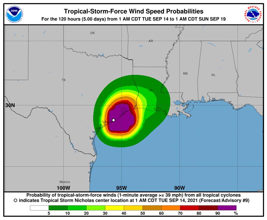 Tropical Storm Nicholas Wind Speeds